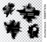set of black paint  ink brush... | Shutterstock .eps vector #588897656