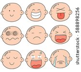 vector set of cartoon face | Shutterstock .eps vector #588898256