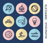 set of 9 fun outline icons such ... | Shutterstock .eps vector #588901376