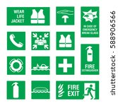boat   ship safety sign set.... | Shutterstock .eps vector #588906566