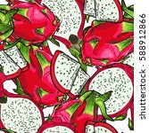 seamless vector pink dragon... | Shutterstock .eps vector #588912866