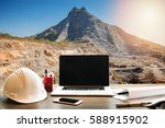 Small photo of Engineering Industry concept, workspace of engineer on opencast mining quarry with lots of machinery at work This area has been mined for copper, silver, gold, and other minerals background