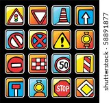 square button with road signs | Shutterstock .eps vector #58891877