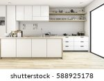 Stock photo  d rendering scandinavian kitchen with white tone design 588925178