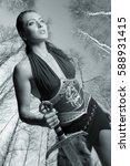 portrait of girl amazon. in the ... | Shutterstock . vector #588931415