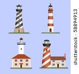 set of lighthouses   Shutterstock .eps vector #58894913