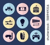 set of 9 fun filled icons such... | Shutterstock .eps vector #588949316