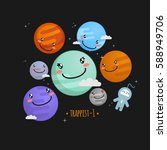 trappist 1 system cute vector... | Shutterstock .eps vector #588949706