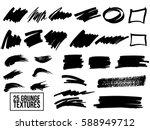 set of black paint  ink brush... | Shutterstock .eps vector #588949712
