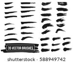set of black paint  ink brush... | Shutterstock .eps vector #588949742