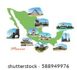 landmarks of mexico located on... | Shutterstock .eps vector #588949976