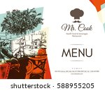 restaurant menu design. vector... | Shutterstock .eps vector #588955205