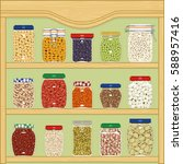 jars of dried cereals and... | Shutterstock .eps vector #588957416