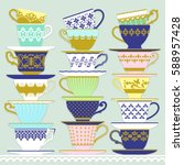 three piles of cups and saucers ... | Shutterstock .eps vector #588957428