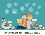 reading books together.self... | Shutterstock .eps vector #588964082