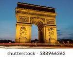 night view of arc de triomphe ... | Shutterstock . vector #588966362