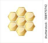 Golden Glossy Honeycomb Icon....