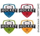 set of hockey sport crests...   Shutterstock .eps vector #588971642