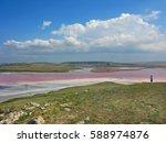 crimea. kerch area. salt lake... | Shutterstock . vector #588974876