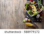 healthy green salad with... | Shutterstock . vector #588979172