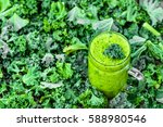 vegetable smoothie on green... | Shutterstock . vector #588980546