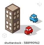 set of isolated isometric... | Shutterstock .eps vector #588990962