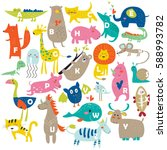 zoo alphabet with cute animals... | Shutterstock .eps vector #588993782