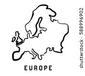 europe simple map outline  ... | Shutterstock .eps vector #588996902