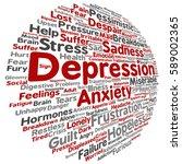 concept conceptual depression... | Shutterstock . vector #589002365
