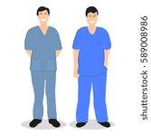 two doctors men  flat design | Shutterstock . vector #589008986