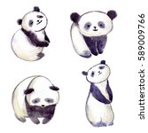 watercolor panda bear. cute and ... | Shutterstock . vector #589009766