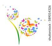 beautiful butterflies dandelion ... | Shutterstock . vector #589014326