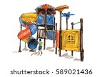 sketch of kids playground on... | Shutterstock . vector #589021436