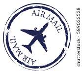 vector dark blue postal stamp.... | Shutterstock .eps vector #589022528