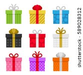 colorful gift boxes set. vector | Shutterstock .eps vector #589028312