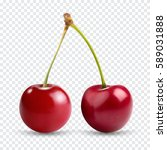 Red cherry. Two ripe berries with stalk. Realistic vector illustration with transparent shadows isolated on plaid background. Sweet fruits. 3d vector icons set for recipe web site, design and business - stock vector