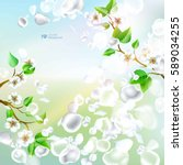 spring background with falling... | Shutterstock .eps vector #589034255