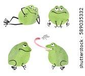 cute watercolor frogs set....   Shutterstock .eps vector #589035332