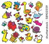 painted animals | Shutterstock .eps vector #58903559