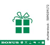 gift icon flat. green pictogram ...