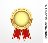gold medal with red ribbon ... | Shutterstock .eps vector #589041176