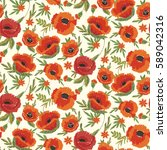 seamless pattern with poppies...   Shutterstock . vector #589042316