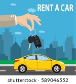 car seller hand giving key to... | Shutterstock . vector #589046552