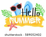 hello summer sticker. vector... | Shutterstock .eps vector #589052402