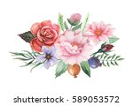 hand painted watercolor... | Shutterstock . vector #589053572