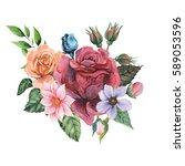 hand painted watercolor... | Shutterstock . vector #589053596