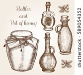 hand drawn bottles and pot of... | Shutterstock .eps vector #589054352