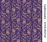 seamless flower paisley lace... | Shutterstock . vector #589054892