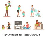 family activity in home... | Shutterstock .eps vector #589060475