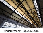 an old  abandon warehouse roof   Shutterstock . vector #589063586